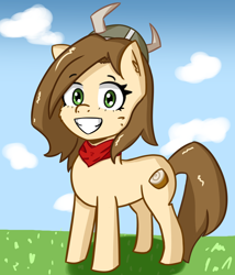Size: 1872x2184 | Tagged: safe, artist:artiks, oc, oc only, oc:tvælåt, earth pony, pony, clothes, female, helmet, horned helmet, looking at you, mare, scarf, smiling at you, solo, viking helmet