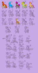 Size: 3100x6000 | Tagged: safe, artist:lavvythejackalope, oc, oc only, alicorn, changeling, changeling queen, crystal pony, dog, dog pony, draconequus, dracony, dragon, earth pony, hybrid, original species, pegasus, pony, sea pony, unicorn, zebra, :o, alicorn oc, armband, baby, baby pony, bow, braid, braided tail, changeling oc, changeling queen oc, collar, crown, cuffs (clothes), disguise, disguised changeling, draconequus oc, dragon oc, ear piercing, earth pony oc, eyes closed, fangs, grin, horn, jewelry, lineart, manticore pony, necklace, open mouth, partial color, pegasus oc, piercing, raised hoof, regalia, scorpion tail, sitting, smiling, tail bow, tail wrap, unicorn oc, unshorn fetlocks, wide eyes, wings, zebra oc