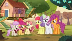 Size: 1024x583 | Tagged: safe, artist:velveagicsentryyt, apple bloom, scootaloo, sweetie belle, oc, oc:apple denki, oc:fries, oc:strawberlly, earth pony, pegasus, pony, unicorn, base used, clubhouse, crusaders clubhouse, cutie mark crusaders, deviantart watermark, female, filly, magic, mare, mother and child, mother and daughter, obtrusive watermark, offspring, older, older apple bloom, older cmc, older scootaloo, older sweetie belle, parent:apple bloom, parent:button mash, parent:rumble, parent:scootaloo, parent:sweetie belle, parent:tender taps, parents:rumbloo, parents:sweetiemash, parents:tenderbloom, watermark
