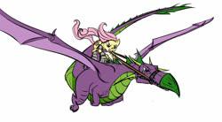 Size: 900x496 | Tagged: safe, artist:misskatto, artist:vaidg, fluttershy, spike, dragon, pony, armor, badass, flutterbadass, flying, harness, older, older spike, ponies riding dragons, reins, riding, tack