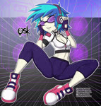 Size: 1837x1932 | Tagged: safe, artist:oldskullkid, dj pon-3, vinyl scratch, equestria girls, breasts, cleavage, clothes, converse, female, fingerless gloves, gloves, leggings, midriff, shoes, short shirt, solo, spread legs, spreading, zipper