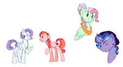 Size: 2736x1484 | Tagged: safe, artist:musicbetmlp, oc, oc only, earth pony, pegasus, pony, unicorn, earth pony oc, horn, magical lesbian spawn, offspring, parent:big macintosh, parent:fluttershy, parent:pinkie pie, parent:rainbow dash, parent:rarity, parent:soarin', parents:flutterdash, parents:pinkiemac, parents:soarity, parents:starluna, pegasus oc, simple background, unicorn oc, white background, wings