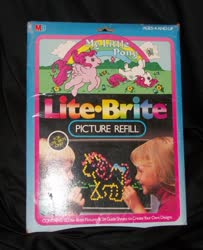 Size: 829x1023 | Tagged: safe, heart throb, truly, butterfly, human, unicorn, black background, bow, cute, flower, g1, heartthrobetes, horses doing horse things, irl, irl human, lite brite, merchandise, milton bradley, official, photo, rolling, simple background, tail bow, trulybetes