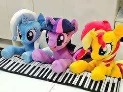 Size: 1024x768 | Tagged: safe, artist:nekokevin, sunset shimmer, trixie, twilight sparkle, pony, unicorn, female, irl, keyboard, magical trio, mare, open mouth, photo, plushie, sitting, smiling, trio, underhoof, unicorn twilight