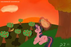 Size: 1640x1080 | Tagged: safe, artist:dizaster321, applejack, twilight sparkle, pony, unicorn, 2011, apple, apple tree, applejack's hat, cowboy hat, hat, hat thief, levitation, magic, sitting, sunset, sweet apple acres, telekinesis, tree