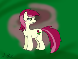 Size: 1024x768   Tagged: safe, artist:dizaster321, roseluck, pony, abstract background, looking back