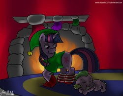 Size: 3000x2350 | Tagged: safe, artist:dizaster321, spike, twilight sparkle, unicorn, christmas, christmas stocking, clothes, cute, elf costume, fire, fireplace, hearth's warming eve, holiday, sleeping, socks, striped socks, unicorn twilight