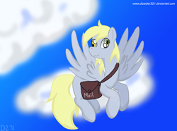 Size: 1320x980 | Tagged: safe, artist:dizaster321, derpy hooves, pony, cloud, flying, mailbag, mailmare, mailpony, sky, solo