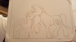 Size: 2048x1152 | Tagged: safe, artist:lucas_gaxiola, oc, oc only, oc:charmed clover, earth pony, pegasus, pony, earth pony oc, eyes closed, female, kissing, lineart, male, mare, oc x oc, pegasus oc, photo, shipping, stallion, traditional art, unshorn fetlocks, wings