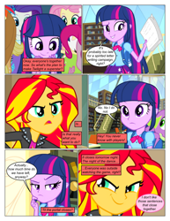 Size: 612x792 | Tagged: safe, artist:greatdinn, artist:newbiespud, edit, edited screencap, screencap, applejack, fluttershy, pinkie pie, rainbow dash, rarity, spike, sunset shimmer, twilight sparkle, dog, comic:friendship is dragons, equestria girls, equestria girls (movie), backpack, book, bookcase, clothes, collaboration, comic, cutie mark, cutie mark on clothes, dialogue, eyes closed, female, grin, humane five, humane six, library, male, scheming, screencap comic, smiling, smirk, spike the dog, thinking