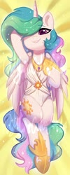 Size: 1638x4096 | Tagged: safe, artist:colorfulcolor233, princess celestia, alicorn, pony, armpits, body pillow, body pillow design, clothes, cute, cutelestia, cutie mark, cutie mark on clothes, ear fluff, female, hair over one eye, mare, obtrusive watermark, on back, one-piece swimsuit, smiling, solo, swimsuit, watermark