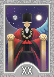 Size: 1200x1728 | Tagged: safe, artist:howxu, discord, human, card, clothes, cosplay, costume, disqord, full moon, humanized, jewelry, john de lancie, judgement, moon, necklace, q, star trek, star trek: the next generation, tarot card, voice actor joke, winged humanization, wings