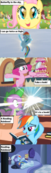 Size: 1149x3897 | Tagged: safe, edit, edited screencap, screencap, fluttershy, pinkie pie, rainbow dash, spike, butterfly, a friend in deed, mmmystery on the friendship express, read it and weep, season 1, season 2, season 4, season 5, tanks for the memories, the cutie mark chronicles, bed, bedroom, book, bookshelf, cake, castle of the royal pony sisters, cloud, comic book, cute, daring do books, dashabetes, diapinkes, female, filly, filly fluttershy, food, glow, golden oaks library, happy, hat, i'll fly, library, lyrics, magnifying glass, marzipan mascarpone meringue madness, power ponies, reading, reading rainboom, reading rainbow, shyabetes, sky, so many wonders, song, song reference, spikabetes, sun, surprised, text, text box, theme song, train, tree, younger