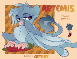 Size: 2000x1545 | Tagged: safe, artist:spoopygander, oc, oc:artemis, fish, griffon, adopted, beak, chest fluff, eyeshadow, fabulous, female, griffon oc, makeup, open beak, paw prints, paws, reference sheet, salmon, solo, tongue out