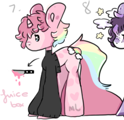 Size: 258x250 | Tagged: safe, artist:milklungs, oc, oc only, oc:vendetta (rigbythememe), pony, unicorn, female, knife, mare, pink, rainbow, simple background, solo, white background