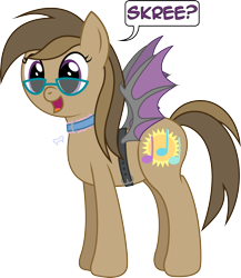 Size: 2699x3114 | Tagged: safe, artist:joey, oc, oc only, oc:dawnsong, earth pony, pony, bat pony costume, bat wings, belt, collar, fake wings, female, glasses, mare, simple background, skree, solo, strapon wings, transparent background, wings