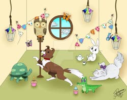 Size: 1024x801 | Tagged: safe, artist:rossgricell, angel bunny, gummy, opalescence, owlowiscious, tank, winona, alligator, bird, butterfly, cat, dog, owl, rabbit, tortoise, animal, candle, cup, cupcake, deviantart watermark, food, lantern, no pony, obtrusive watermark, teacup, teapot, watermark