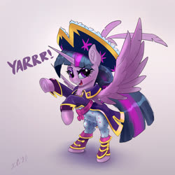 Size: 3830x3830 | Tagged: safe, artist:xbi, twilight sparkle, alicorn, pony, bipedal, clothes, female, gradient background, hat, mare, pajamas, pirate hat, pirate twilight, solo, twilight sparkle (alicorn), yarrr