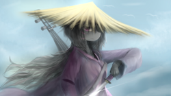 Size: 2500x1400 | Tagged: safe, artist:lukesaurusflavius, artist:ssnerdy, octavia melody, anthro, female, hair over one eye, hat, katana, looking at you, musical instrument, samurai, scar, solo, sword, unsheathing, vaguely asian robe, weapon, windswept hair