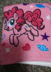 Size: 1460x2048 | Tagged: safe, pinkie pie, earth pony, pony, balloon, diamond, female, heart, irl, mare, photo, smiling, solo, towel