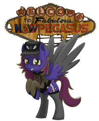 Size: 2000x2453 | Tagged: safe, artist:memeancholy, oc, oc only, oc:midnight gambit, pegasus, fallout equestria, bipedal, clothes, female, garters, grand pegasus enclave, hat, las pegasus, new pegasus, simple background, socks, stockings, thigh highs, transparent background, uniform