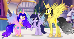 Size: 4813x2529 | Tagged: safe, artist:lumi-infinite64, oc, alicorn, colored wings, family, family photo, gradient mane, gradient wings, grown, jewelry, next generation, oc next gen, regalia, royal family, wings