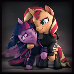 Size: 6000x6000 | Tagged: safe, artist:imafutureguitarhero, sci-twi, sunset shimmer, twilight sparkle, alicorn, pony, unicorn, 3d, :j, absurd resolution, adidas, bipedal, blushing, boots, border, chromatic aberration, clothes, colored eyebrows, colored eyelashes, cute, cutie mark hair accessory, duo, equestria girls ponified, female, film grain, floppy ears, freckles, grin, hoodie, horn, leather, leather boots, lesbian, mare, multicolored mane, multicolored tail, nose wrinkle, one eye closed, ponified, raised hoof, revamped ponies, scitwilicorn, scitwishimmer, scrunchy face, shimmerbetes, shipping, shoes, signature, smiling, source filmmaker, square, sunsetsparkle, twiabetes, twilight sparkle (alicorn), wall of tags, windswept mane, wings, wink