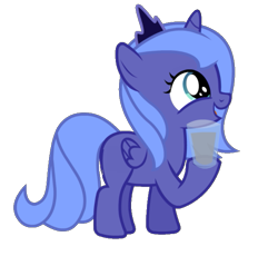 Size: 651x600 | Tagged: safe, artist:dassboshit, artist:eiti3, artist:karmakstylez, edit, editor:dassboshit, editor:eiti3, editor:karmakstylez, princess luna, alicorn, cropped, cute, female, filly, glass, happy, lunabetes, milk, simple background, solo, transparent background, water, woona, younger