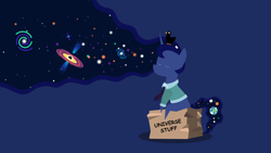 Size: 1920x1080 | Tagged: safe, artist:lost_memory, derpibooru exclusive, princess luna, alicorn, bird, duck, .svg available, black hole, box, button, clothes, earth, ethereal mane, female, galaxy, galaxy mane, kurzgesagt, lapel, lineless, modern art, necktie, planet, shirt, simple background, sitting, smiling, solo, stars, string theory, thinking, vector, wallpaper