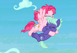 Size: 1115x768 | Tagged: safe, screencap, bifröst, night view, earth pony, pegasus, pony, school raze, accessory, background pony, carrying, catching, cloud, cropped, duo, eyes closed, falling, female, flying, friendship student, hairband, holding, hug, mare, rescue, sky, spread wings, tail wrap, wings