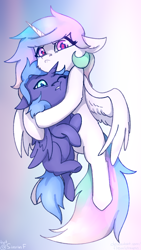 Size: 1080x1920 | Tagged: safe, artist:flysouldragon, princess celestia, princess luna, alicorn, pony, carrying, cewestia, cheek fluff, cute, duo, ear fluff, female, filly, foal, hug, leg fluff, phone wallpaper, royal sisters, siblings, sisters, wings, woona, younger