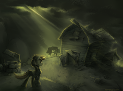 Size: 1880x1383 | Tagged: safe, artist:anotherdeadrat, oc, oc only, oc:littlepip, pony, unicorn, fallout equestria, barn, clothes, fanfic, fanfic art, female, hooves, horn, house, mare, pipbuck, solo, vault suit, well