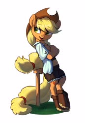 Size: 1948x2807 | Tagged: safe, artist:luciferamon, applejack, earth pony, pony, semi-anthro, bipedal, bipedal leaning, chest fluff, clothes, crossed arms, cute, female, jackabetes, leaning, mare, shirt, shorts, simple background, smiling, solo, white background