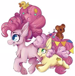 Size: 2014x2048 | Tagged: safe, artist:cutepencilcase, li'l cheese, pinkie pie, earth pony, pony, the last problem, spoiler:s09e26, candy in hair, chest fluff, duo, ear fluff, female, fluffy, high res, male, mare, mother and child, mother and son, older, older pinkie pie, rubber duck, simple background, smiling, teddy bear, white background