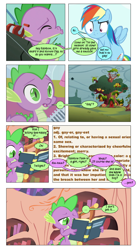 Size: 868x1582 | Tagged: safe, artist:dziadek1990, edit, edited screencap, screencap, rainbow dash, spike, twilight sparkle, a dog and pony show, fall weather friends, owl's well that ends well, book, comic, confused, confusion, conversation, dialogue, dictionary, fishing rod, gay, golden oaks library, hearts and hooves day, implied twilight sparkle, kissing, library, male, microphone, puckered lips, screencap comic, shipping denied, slice of life, text