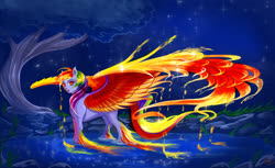 Size: 1600x979 | Tagged: safe, artist:sashlmlsan, rainbow dash, pegasus, pony, beautiful, female, grass, looking at you, mare, night, night sky, pond, sky, solo, spread wings, stars, tree, water, wings