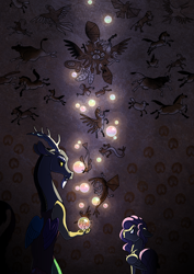 Size: 2480x3508   Tagged: safe, artist:jackiebloom, discord, fluttershy, bird, chicken, classical hippogriff, cow, donkey, draconequus, goat, hippocampus, hippogriff, horse, hybrid, merpony, monkey, pegasus, pony, ashamed, body horror, bubble, cave painting, description is relevant, eldritch abomination, female, male, mare, rearing, story included, young discord, younger