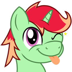 Size: 1000x1000 | Tagged: safe, artist:toyminator900, oc, oc only, oc:jonin, pony, unicorn, bust, male, one eye closed, simple background, smiling, solo, tongue out, transparent background, wink