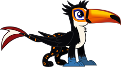 Size: 1717x951 | Tagged: safe, artist:lightningbolt, derpibooru exclusive, oc, oc only, oc:tristão, bird, griffon, ocelot, toco toucan, toucan, .svg available, beak, claws, folded wings, griffon oc, male, paws, simple background, solo, spots, standing, svg, toucan griffon, transparent background, vector, wings