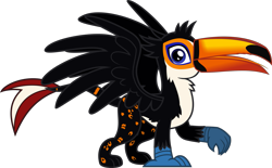Size: 1767x1094 | Tagged: safe, artist:lightningbolt, derpibooru exclusive, oc, oc only, oc:tristão, bird, griffon, ocelot, toco toucan, toucan, .svg available, beak, claws, folded wings, griffon oc, looking at you, male, open beak, open mouth, paws, raised leg, simple background, solo, spots, spread wings, standing, svg, tongue out, toucan griffon, transparent background, vector, wings