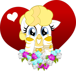 Size: 5000x4673 | Tagged: source needed, safe, artist:jhayarr23, oc, oc only, oc:golden heart, zebra, albino, cute, ear piercing, earring, flower, heart, jewelry, looking at you, ocbetes, part of a set, piercing, show accurate, simple background, solo, transparent background, ych result