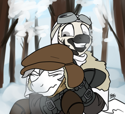 Size: 1100x1000 | Tagged: safe, artist:potes, oc, oc only, pegasus, zebra, chokehold, female, frostpunk, male, rapeface, this will end in rape, winter