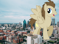 Size: 3840x2880 | Tagged: safe, artist:chainchomp2 edit, artist:jerryakiraclassics19, crescent pony, mane moon, pegasus, pony, building, city, dallas, giant pony, highrise ponies, irl, macro, male, mega giant, photo, ponies in real life, spread wings, wings