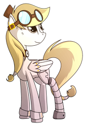 Size: 1153x1717 | Tagged: safe, artist:turbo740, oc, oc only, oc:clockwork keyes, pegasus, pony, amputee, braid, choker, female, goggles, hat, mare, prosthetic leg, prosthetic limb, prosthetics, simple background, solo, transparent background