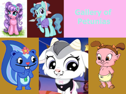 Size: 1070x800 | Tagged: safe, artist:cheezedoodle96, artist:joakaha, edit, petunia paleo, petunia petals, earth pony, goat, pig, pony, skunk, rainbow roadtrip, archaeologist, baby looney tunes, clothes, cute, dialogue, female, happy, happy tree friends, headscarf, hello, littlest pet shop, littlest pet shop a world of our own, looking at you, looney tunes, mare, mouth hold, obscure crossover, older, petalbetes, petunia (happy tree friends), petunia cloghoof, petunia pig, petunia pig (baby), pigtails, quintet, raised hoof, scarf, shirt, simple background, smiling, trowel