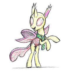 Size: 1440x1440 | Tagged: safe, artist:docwario, changedling, changeling, clothes, scarf, simple background, smiling, solo, white background