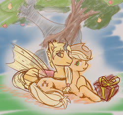 Size: 1965x1842 | Tagged: safe, artist:mirror_image, applejack, oc, oc:flicker, changeling, earth pony, pony, anniversary, apple, apple tree, changeling oc, colored, commission, cuddling, gift box, intertwined trees, lying down, pear tree, present, romantic, shipping, tree