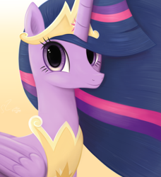 Size: 3644x4000 | Tagged: safe, artist:flutterstormreturns, twilight sparkle, alicorn, pony, the last problem, bust, eye contact, female, folded wings, high res, looking at each other, looking at you, portrait, princess twilight 2.0, simple background, solo, twilight sparkle (alicorn), wings, yellow background