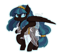 Size: 1150x989 | Tagged: safe, artist:spetu, oc, oc only, oc:insomnia, pegasus, pony, clothes, female, mare, offspring, parent:nightmare moon, parent:somnambula, see-through, simple background, solo, transparent background