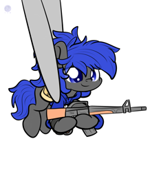 Size: 2400x2560 | Tagged: safe, artist:kimjoman, oc, oc only, oc:dream², pony, assault rifle, bag, clothes, cute, gun, holding a pony, hoodie, m16, ocbetes, ponytail, redraw, rifle, saddle bag, small pony, smiling, smol, tiny, tiny ponies, tweezers, watch, weapon